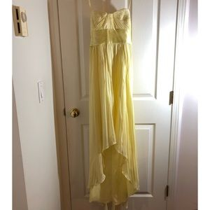 Yellow strapless long gown worn once
